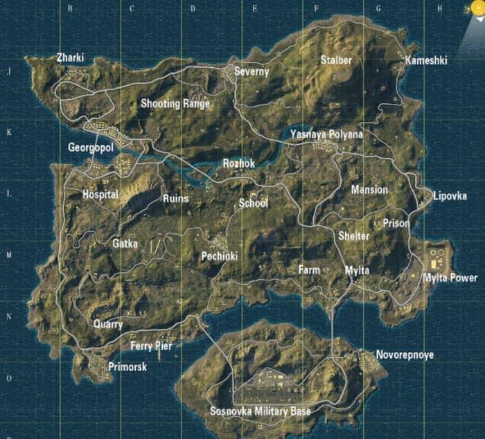 Названия позиций на картах в pubg